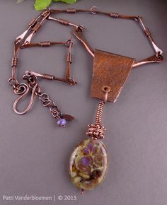 Artisan Stone Lampwork Pendant and Handmade Solid Copper Necklace   Handcrafted Jewelry by Patti Vanderbloemen