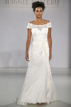 Maggie Sottero - Bridal Fall 2013    TAGS:Embroidered, Floor-length, Off-the-shoulder, White, Maggie Sottero, Lace, Silk, Glamour