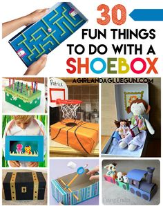 Kids. I sure love them. Mostly because they are easily entertained! Most the time they like the box the present comes in more than the actual present! So here's a fun roundup ofcrafts kids can make out of just a shoe box!!! (good timing if you guys just bought lots of new school shoes like …