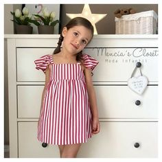 Image may contain: 1 person, standing, stripes and indoor Toddler Girl Dresses, Little Girl Dresses, Girls Dresses, Dresses Dresses, Baby Girl Fashion, Kids Fashion, Sewing Kids Clothes, Baby Dress, Ideias Fashion