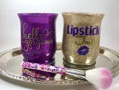Vanity Jars Makeup Brush Holder Makeup Brush Jar by BJuneEvents Glitter Jars, Glitter Glasses, Glitter Makeup, Glitter Tumblers, Makeup Brush Holders, Makeup Brush Set, Cute Makeup, Diy Makeup, Makeup Jars