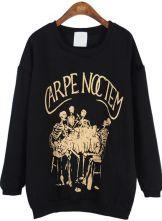 Black Long Sleeve Letters Skeleton Print Sweatshirt $35.48