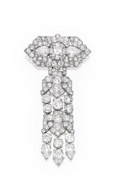 An Elegant Platinum and Diamond Brooch, Cartier, France - circa 1925.