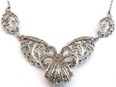 Hollywood Marcasite Necklace, Ornate, Silvertone, Victorian Revival Chocker by Bluebowvintage on Etsy