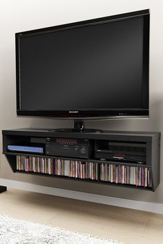 Series 9 Designer Collection 58'' Wide Black Wall Mounted AV Console on HauteLook