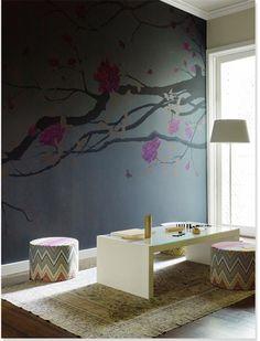 Love the mural and Missoni poufs, Designer Chloe Warner of Redmond Aldrich Decor, Home, Home And Living, Home Decor Decals, Interior Murals, Moroccan Design, Interior Design, Interior Spaces, Cool Walls