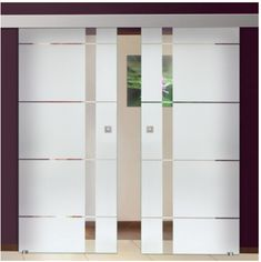 Sliding Barn Glass Doors / Sandblasted / Frosted Lines Design + Glass Application Double Glass Doors, Tempered Glass Door, Safety Glass, Applications, Barn, Design, Home Decor, Converted Barn, Decoration Home