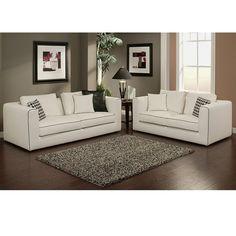 Living room color scheme - although white sofas are a no go. Soho Italian Linen Sofa and Loveseat Set