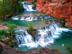 The third and final swimming hole in the Grand Canyon, Beaver Falls is a free-falling fantasy that offers 40-foot cliffs and deep, aqua-blue pools.