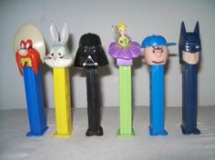 Pez Batman, Tinkerbell, Charlie Brown, Darth Vader, Bugs Bunny, and Ole Sammity