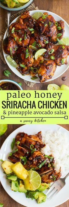 Garlicky Honey Sriracha Chicken - sticky, spicy chicken balanced out with a sweet pineapple avocado salsa | Gluten Free + Paleo