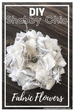 If you are looking for a gorgeous way to use up your fabric scraps, try this Diy No Sew Shabby Chic Fabric Flowers tutorial. Perfect for home decor projects chic decor diy fabric roses Tela Shabby Chic, Shabby Chic Stoff, Shabby Chic Flowers, Shabby Chic Fabric, Shabby Chic Crafts, Shabby Chic Wreath, Easy Fabric Flowers, Fabric Flower Tutorial, Burlap Flowers