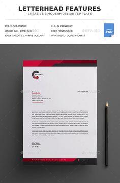 Modern, Creative Letterhead Design Template #Letterhead #Template #Mockup Letterhead Design, Graphic Design Branding, Professional Letterhead Template, Websites Like Etsy, Business Letter, Graphic Design Inspiration, Website Template, Creative Design, Clip Art
