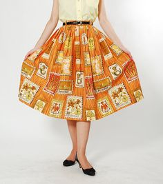 Vintage 50s Skirt - 1950s Novelty Print Skirt - Penpal in Europe