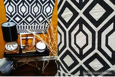 STYLE TIP: Rugs are not only for the floor. Create a great feature wall by using a graphic print rug as wall decor.  This rug, lamp and rolling tray table were all #HomeGoods finds. #fall #HappybyDesign #HomeGoodsHappy