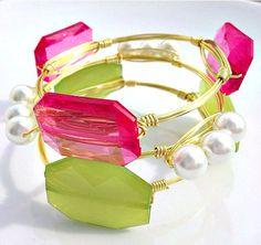 Pink, Green, and Pearl Bangles