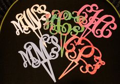 Unique custom monogrammed cake topper with a 3 letter monogram, perfect for birthdays, weddings and anniversaries. $35.00, via Etsy.