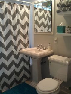 Chevron Bathroom Ideas Updated my bathroom! West Elm gray Chevron shower curtain, Sherwin Williams passive paint color
