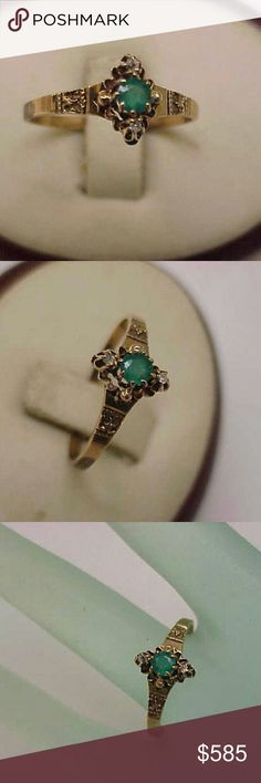 Victorian 10k gold genuine emerald diamond ring Late 1800s Size 8. 10k -tested with a Mizar m24 gold. . Weight 1.5gr. Genuine emerald 3.5mm and 2 diamonds 1.7mm each. Jewelry Rings