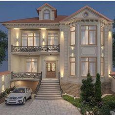 30 Most Popular Dream House Exterior Design Ideas 6 - homeexalt Bungalow House Design, House Front Design, Classic House Design, Modern House Design, Dream House Exterior, Dream House Plans, Classic House Exterior, Luxury Homes Dream Houses, Dream Homes