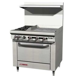 """S-Series Range 36"""" W 36"""" manual griddle - #S36A-3G    Southbend S-Series Restaurant Ranges - S-Series Restaurant Range, gas, 36"""" W, 64,000 BTU, 36"""" manual griddle, (1) 35,000 BTU convection oven with snap action thermostat, stainless steel front, sides and removable shelf, 4"""" s/s front rail, removable grease drawer, hinged lower valve panel, metal knobs, 6"""" s/s adjustable legs, NSF, total BTU'S (NAT) 99,000"""