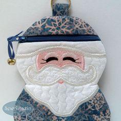 Blue Snowflake Santa Claus Padded Zipper Case, Gift Holder, Grab Bag | SewAmazin - #Winter #Christmas