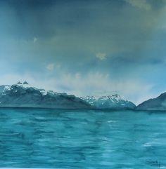 sandysign | Villeureuse, lac Léman Michel, Tour, Waves, Mountains, Random, Nature, Outdoor, Lake Geneva, Watercolor Artists