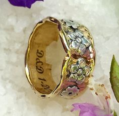 Wedding ring gold and silver Daisies 14 kt by HedvaElanyJewelry