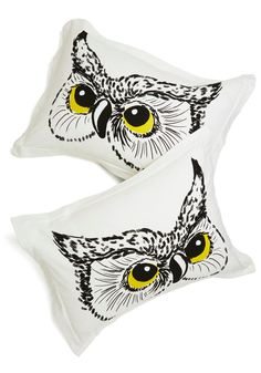 Owl Did You Sleep? Pillow Sham Set. Youre sure to feel wise and energized after waking up on these owl-printed pillow shams - ModCloth exclusives. #white #modcloth