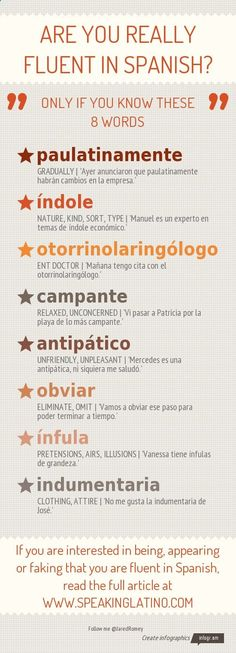 Are You Really Fluent in Spanish? Only If You Know These 8 Spanish Language Words #Infographic #spanishinfographic