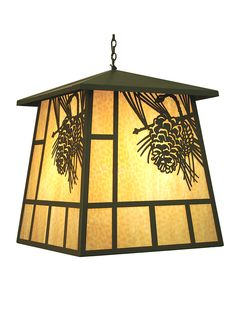 Rustic Lodge Art Glass 30 Inch Square Stillwater Winter Pine Lantern Pendant by Meyda Lighting - 70142