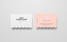 Neat Confections on Behance- scallop like di-cut on business card design