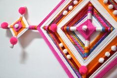 """This """"God's Eye"""" in spanish """"Ojo de Dios"""" is handcrafted in México by myself, is a wall hanging decoration from the """"Huichol"""" culture that will fill your place with color. God's Eye Craft, Diy And Crafts, Arts And Crafts, Gods Eye, Diy Hanging, Decoration, Diy Room Decor, Dream Catcher, Projects To Try"""