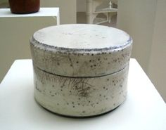 Inger Rokkjaer White lidded jar, raku 2005 at Galerie Besson