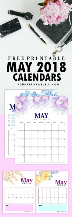 Print this set of FREE May 2018 calendar printables today! #May #freeprintable #calendars #homeprintables