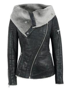 Stylish Turn-Down Collar Long Sleeve Zippered Women's Leather Black Jacket Jackets   RoseGal.com Mobile