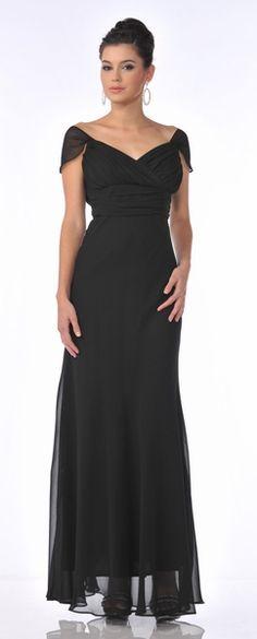 Off The Shoulder Cap Sleeve Black Chiffon Long Semi Formal Dress $96.99