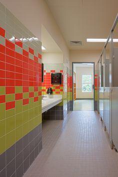 Image result for school restroom wall tile pattern Industrial Bedroom Design, Industrial Interiors, Bathroom Interior Design, School Architecture, Architecture Design, Toilet Tiles, Toilette Design, School Bathroom, Wall Tiles Design