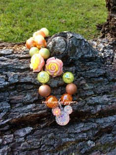 Coral Minnie Chunky Bubble Gum Bead Necklace by EarthMetalPaper