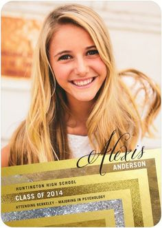 Sparkling Spirit - Graduation Announcements in gorgeous gold sparkle tones. #graduation