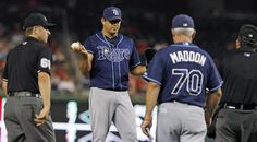 June 20, 2012    MLB cheaters: Caught in the act - Tampa Bay Rays relief pitcher Joel Peralta was ejected without throwing a pitch after the umpires found pine tar on his glove during Tuesday night's game against the Washington Nationals.