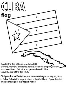 Cuba coloring page --- end of class handout for Cuba class