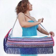 Yoga Mat Bag with Embroidered Hmong Fabric, Yoga Bag with Zipper, Yoga Tote Bag, Indigo Batik Fabric, Ethnic Mat Carrier, Large Bohemian Bag Yoga Mat Bag, Yoga Fashion, Boho Look, Canvas Material, Indigo, Hand Weaving, Bohemian Bag, Bohemian Style, Boho Chic