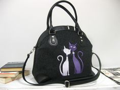 CAT BAG,handbag, Felt Handbag ,Felt Purse,  Special Custom Gift Cat design  purse ,Top handles bag, Women felt bag Cat bag Felt by BPStudioDesign on Etsy
