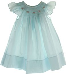 Hiccups Childrens Boutique - Girls Blue Smocked Angel Bishop Dress