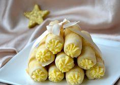 crustycorner: Mandlové trubičky s vanilkovým krémem a bílou čokoládou