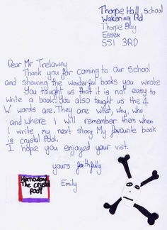 Jack Trelawny school author visit to Thorpe Hall Lower School SS1 3RD  (UK). The school sent the after-visit work the children had done in class. Letter and artwork from Emily