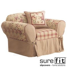 @Overstock - This slipcover features three coordinating prints pieced together in one unforgettable designSlip cover mixes a traditional floral pattern with two different plaids and rich ruby cord detailingThe ideal addition to your home decorationhttp://www.overstock.com/Home-Garden/Sure-Fit-Lexington-Washable-Chair-Slipcover/2278522/product.html?CID=214117 $37.99
