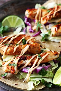 RAVENOUSRAVE VO: OMIT chicken & mayo and use meat substitute & vegenaise   Jamaican Jerk Chicken Tacos