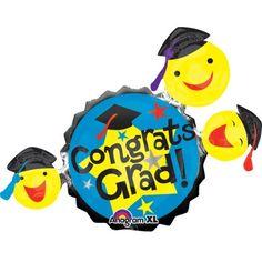 Anagram Cartoon Emoji Congrats Grad Smile Faces 35 inch Foil Balloon, Multicolor